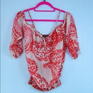 RAMPAGE red white cold shoulder blouse LARGE